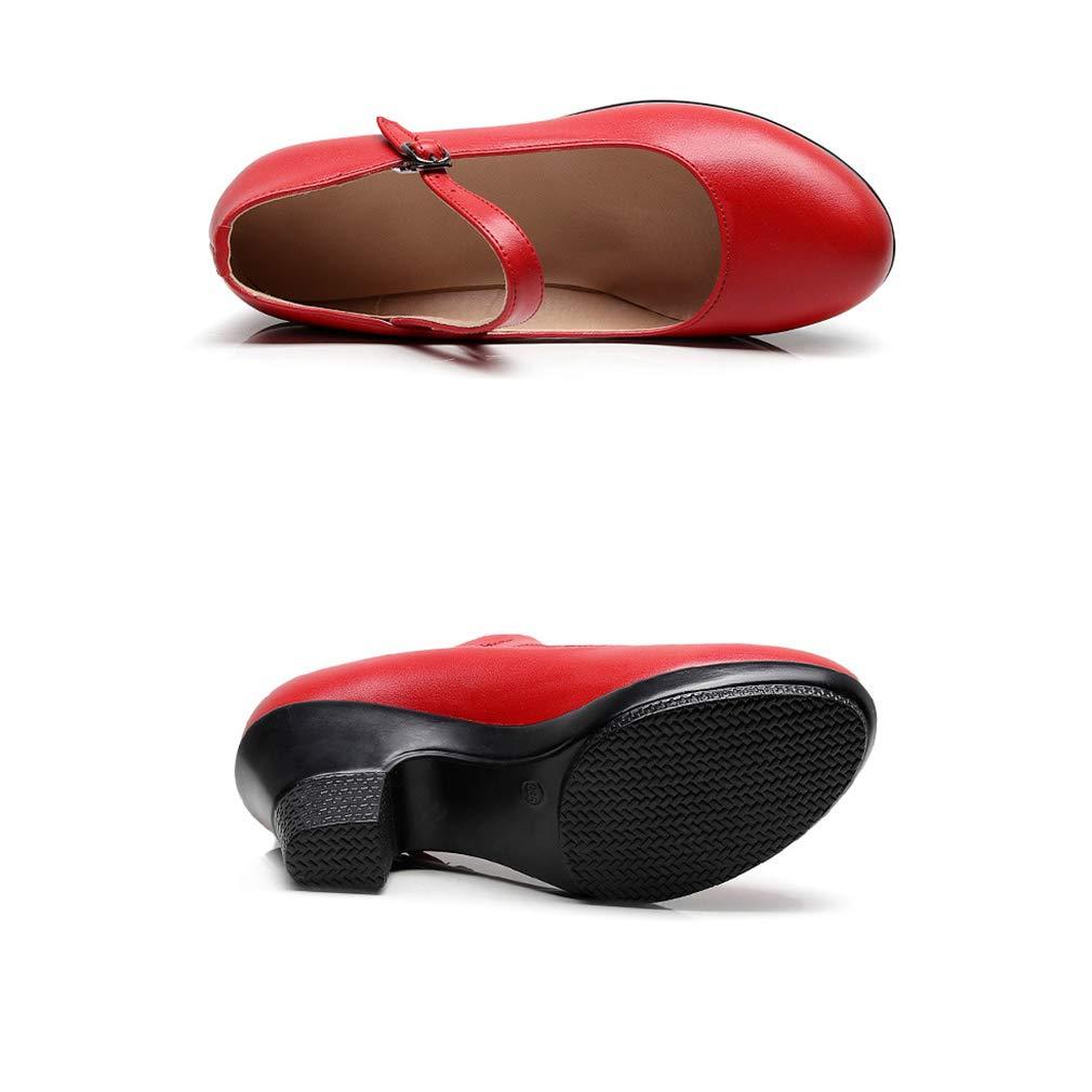 YAN Damenmode Schuhe Chunky Heels der der der Frühling- & Herbst-Dame One-Button Schnalle Cheongsam Catwalk Schuhe Mutter Schuhe Arbeitsschuhe 0f9d94