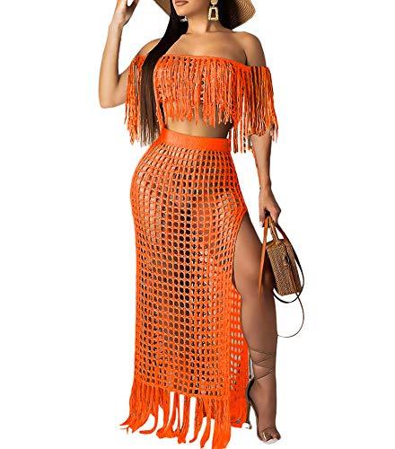 Women Off Shoulder Cover Up Maxi Skirt Sets Crochet Tassel Fringe 2 Piece Outfit Slit Beach Dress Orange Size - Crochet Orange