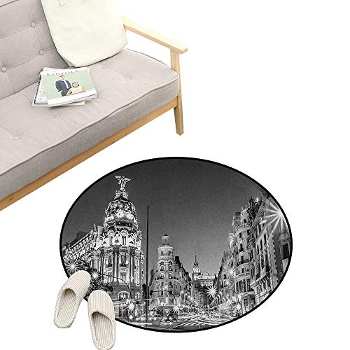 Black and White Non-Slip Round Rug ,Madrid City at Nighttime in Spain Main Street Ancient Architecture, Washable Living Room Bedroom Kids 47