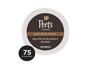 Peet's Coffee Major Dickason's Blend Dark Roast Coffee K-Cup Coffee Pods (75 Count)