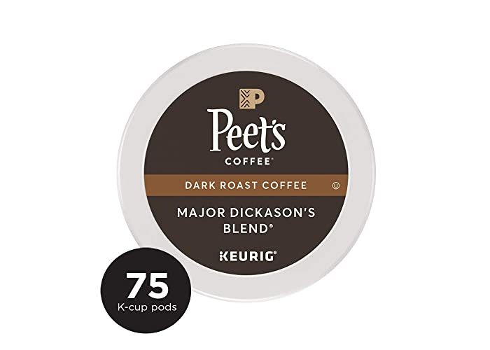 Peet's Coffee Major Dickason's Blend Dark Roast Coffee K-Cup Coffee Pods (75 Count)