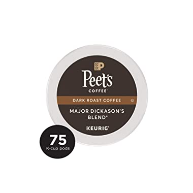 Peet's Coffee Major Dickason's Blend, Dark Roast, Single Serve K-Cup Coffee Pods for Keurig Coffee Maker, 75 Count
