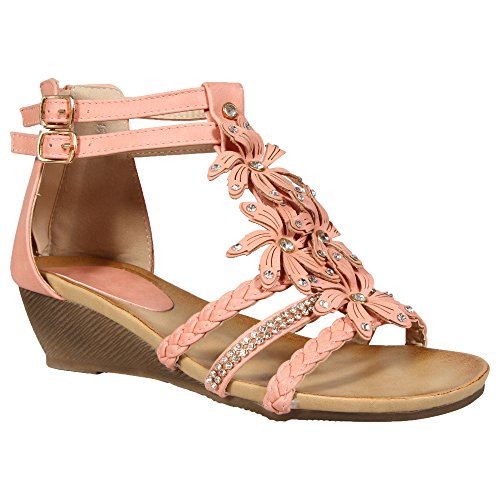 scarpe estivi floreale Rosa fiore donne fibbia party abito casual spiaggia tacco chiusura shoe sandali Strappy a diamante da sera Mid sandali Gladiatore basso BPxpP1vnt