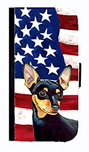 USA American Flag with Min Pin Cell Phonebook Cell Phone case Cover for GALAXY S3