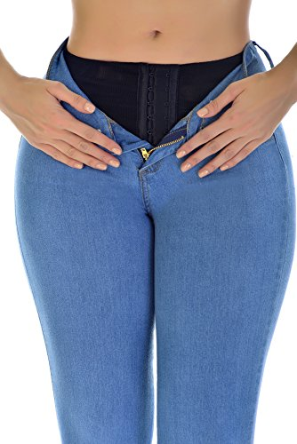 """Curvify Butt Lifting Wonder Jean with Secret Internal Waist Cincher (5 for 39"""" to 40"""" hips, LightBlue) from Curvify"""