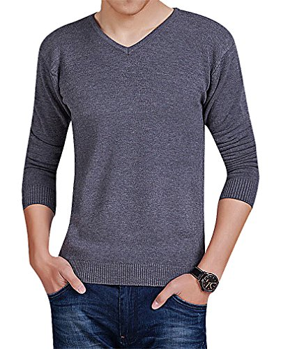 Mancave Men Cashmere Wool Blend Solid Color V Neck Full Sleeve Comfy Sweater, DarkGray XL,Manufacturer(XXXL) (Blend Color Solid Cashmere)
