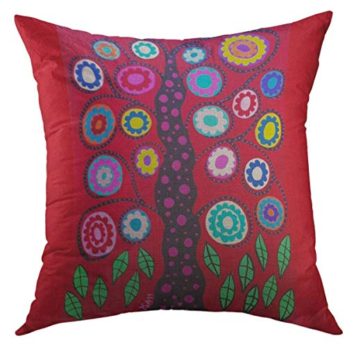 Mugod Decorative Throw Pillow Cover for Couch Sofa,Mexican Kerri Ambrosino Tree of Life Red Folk Home Decor Pillow Case 18x18 Inch