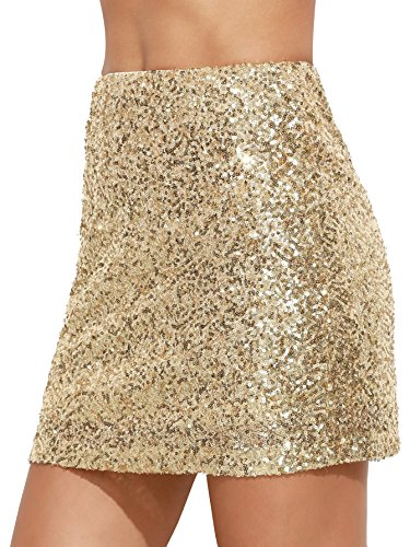 Verdusa Women's Above Knee Sequin Sparkle Mini Skirt Gold L