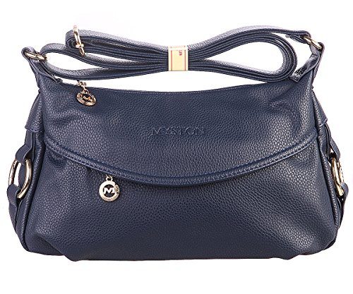 Women's Fashion Genuine Leather Cross Body Shoulder Bag Hobo Style Purse Satchel Handbag for Ladies (Navy Blue)