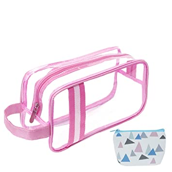 b55de6217c Amazon.com : HOYOFO Clear Travel Toiletry Bag TSA Approved Carry-on Makeup  Bags with Handle Strape Waterproof Sundries Pouch for Bottles, Pink : Beauty