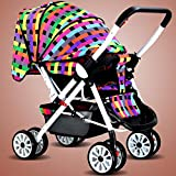 ZLMI Baby Stroller Ultra Light Portable Folding Umbrella Can Sit Reclining Two-Way Four-Wheeled Baby Stroller 0-3 Years Old Baby,F