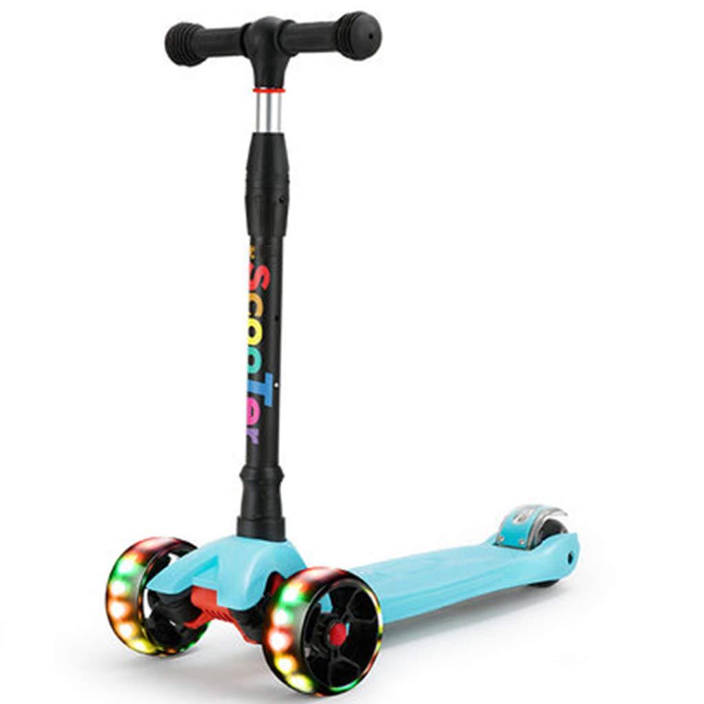 4輪スクーター214年の幼児の子供のライトアップスクーター  点滅するLEDの車輪Tバーの高さ調節可能な滑らかな乗ることは操縦すること容易キックスクーターに傾きます B07QXN6N1Z B B