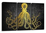 YYL ART-Pure Color Black Background With Gold Octopus Canvas Wall Art Print Vintage Home Decor For Living Room ( Framed) - 16X32'' / Panel for Living Room Kitchen Office Home Decor