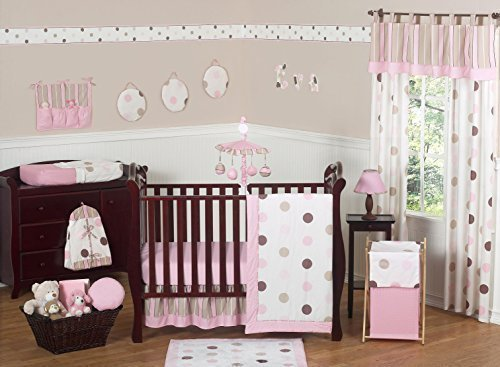 Sweet Jojo Designs 11-Piece Contemporary Pink and Brown Modern Polka Dot Baby Girl Bedding Crib Set Without Bumper (Polka Dot Nursery And Pink Brown)