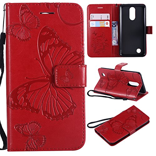 ARSUE LG K20 Case, LG K20 Plus Wallet Case,Leather Folio Flip PU Phone Protective Case Cover with Card Holder & Kickstand for LG K20/LG K20 Plus/LG K20 V/LV5/K10 2017/LG Harmony,Butterfly Red (Phone Leather Case Access Lg)