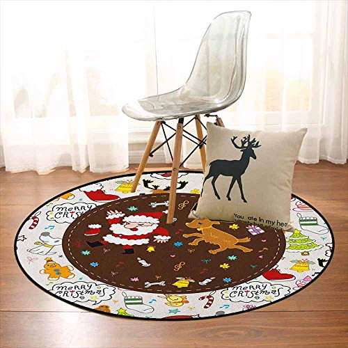 Dancing Santa Reindeer - Kids Christmas Super Soft Round Home Carpet Dancing Santa and Reindeer Happy New Year Cute Childish Party Icons Doodle for Sofa Living Room D35.4 Inch Multicolor