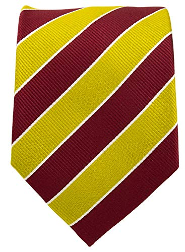 College Striped Ties for Men - Woven Necktie - Gold w/Maroon