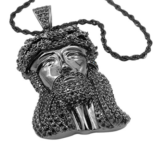 NIV'S BLING - 18K Black Gold-Plated Cubic Zirconia Jesus Piece