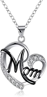 Best Birthday Gift Stainless Steel Polished Black Enamel CZ Heart Necklace