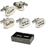 BOXED SILVER OVAL mens wedding cufflinks cuff link Groom best man usher page gift CL03 (BEST MAN)