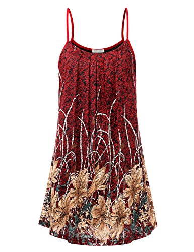 BaiShengGT Floral Slip Shift Dress for Women,Front Pleated Above Knee Summer Shift Floral Spaghetti Strap Tunic Tank Lace Dresses L Red Floral 1