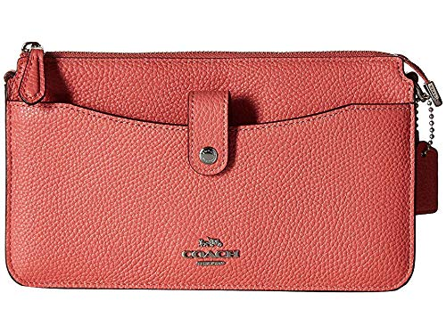 COACH Women's Pop Up Messenger in Polished Pebble Leather Bright Coral/Silver One Size