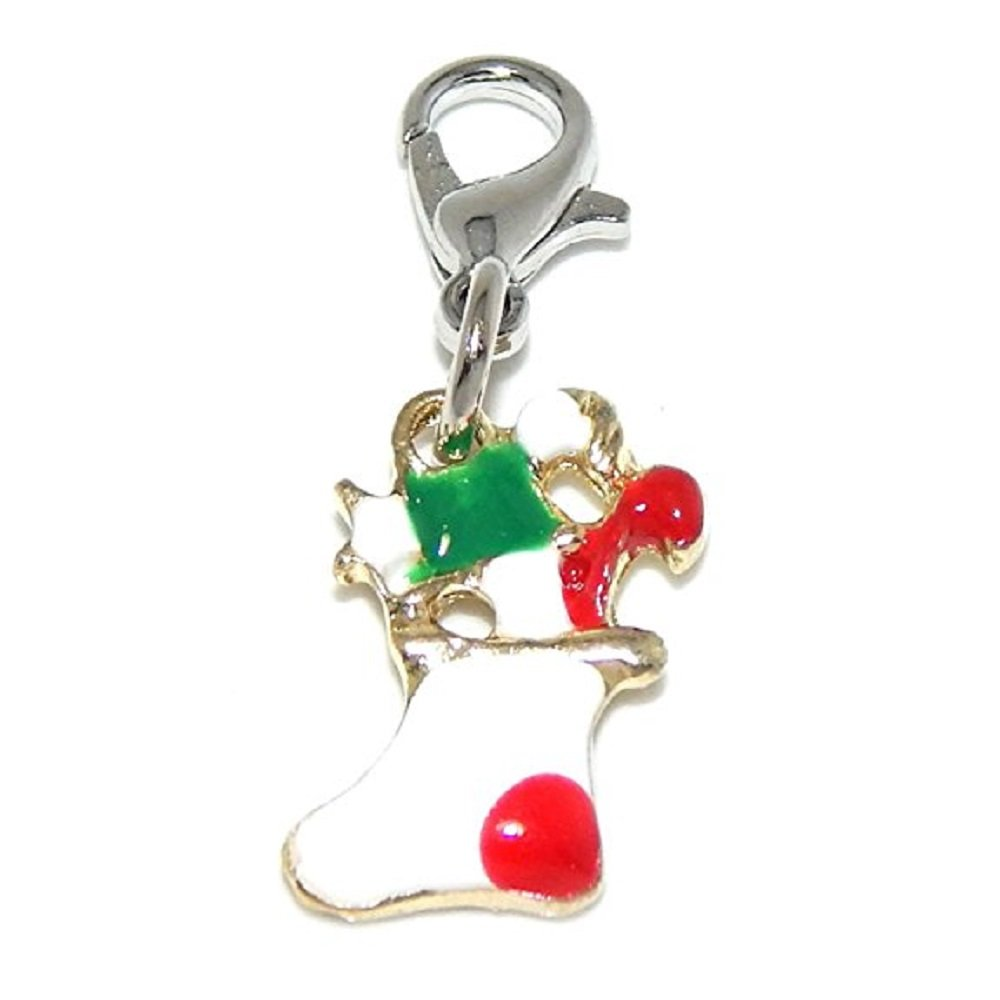 GemStorm Silver Plated Dangling Gold Tone Christmas Stocking Clip On Lobster Clasp Charm