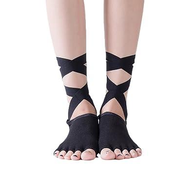 4 Pairs Women Yoga Ankle Socks Non Slip Toeless Ballet with Grips