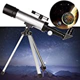 Outdoor & Sports,Dartphew Fashion 360x50mm Astronomical Telescope Tube Refractor Monocular Spotting Scope w/Tripod,Eyepiece-SR4mm-H20mm-3x Barlow lens-Resolution-2.000 arc seconds(Silver)