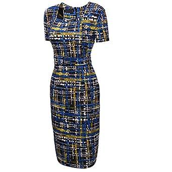 UDORA Square Neck Optical Illusion Business Pencil Midi Dress (S)