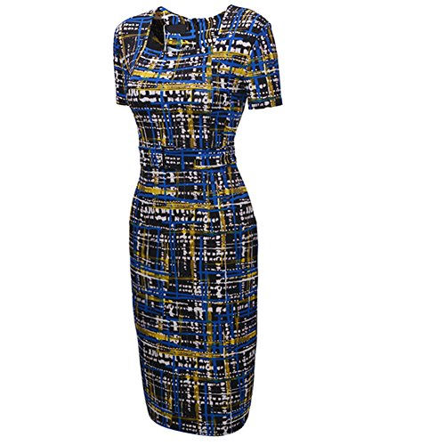 UDORA Square Neck Optical Illusion Business Pencil Midi Dress (Illusion Formal Dress)