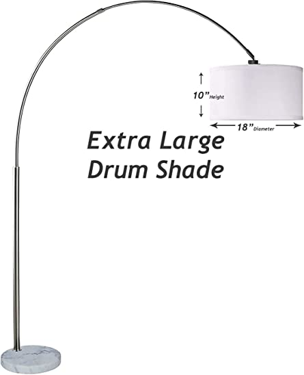 SH Lighting 6938 Brush Steel Arching Floor Lamp