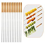 Barbecue String Wooden Handle Stainless Steel Needle Set of 12 PCS Ideal Barbecue Bar Outdoor Camping Outings Cooking Tools-One Sets