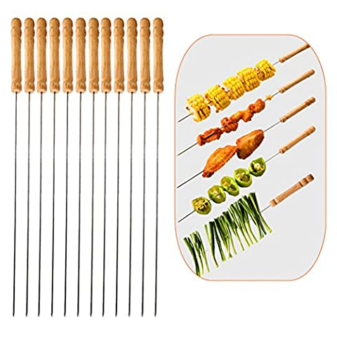 Barbecue String Wooden Handle Stainless Steel Needle Set of 12 PCS Ideal Barbecue Bar Outdoor Camping Outings Cooking Tools-One ()