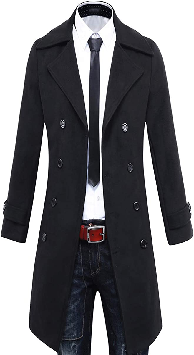 LINGMIN Mens Single Breasted Pea Coats Slim Fit Notched Lapel Long Sleeve Outwear