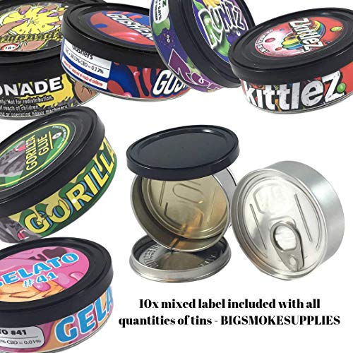 - Pressitin Tuna Tin Cans 100ml 3.5g 3.5 gram - BLACK LIDS INCLUDED - Self Hand Sealed - Smell Lock Tamper Evident Proof (40, 100ML / 3.5 GRAM)