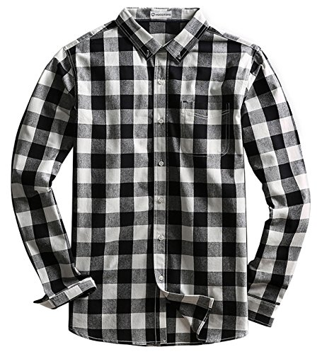 Men's Long Sleeve Plaid Button Down Cotton Casual Shirts White and Black X-Large (Black And White Plaid Button Up Shirt)