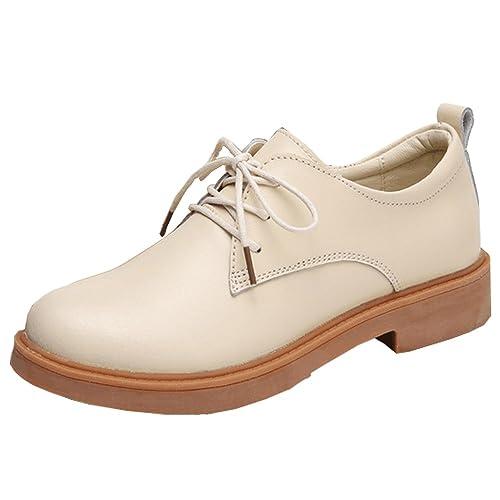Amazon.com | Womens Oxford Shoes Faux Leather Flat 3 cm Office Business Derby Beige 40 | Oxfords