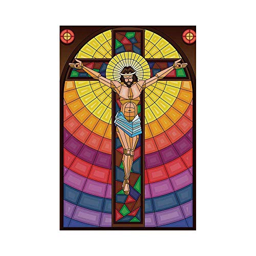 (Polyester Garden Flag Outdoor Flag House Flag Banner,Religious,Stained Glass Style Colorful Illustration of Spiritual Scene Artistic Display,Multicolor,for Wedding Anniversary Home Outdoor Garden Deco)