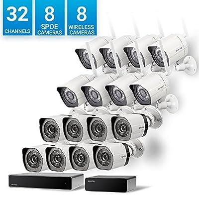 Zmodo 32 Channel Network NVR 8 sPoE Camera + 8 Wireless WiFi Camera Weatherproof HD Security System