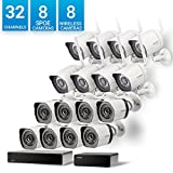 Zmodo 32 Channel Network NVR 8 sPoE Camera + 8 Wireless WiFi Camera Weatherproof HD Security System,Customizable Motion Detection, w/ sPoE Repeater for Flexible Extension