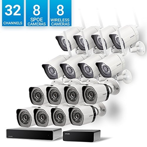Zmodo 32 Channel Network NVR 8 sPoE Camera + 8 Wireless WiFi Camera Weatherproof HD Security System,Customizable Motion Detection, w/ sPoE Repeater for Flexible Extension (Wireless Extension System)