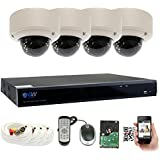 GW Security 8 Channel 5 Megapixel 5 in 1 DVR + 4 x HD-TVI 5MP 1920P Vari-Focal Zoom Outdoor/Indoor CCTV Dome Security Camera System with Pre-Installed 2TB Hard Drive