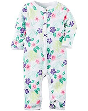 Baby Girls' Cotton Snap-Up Footless Sleep & Play (Newborn, Floral)