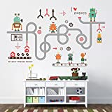Wallpark Cartoon Cute Novelty Robot Removable Wall Sticker Decal, Children Kids Baby Home Room Nursery DIY Decorative Adhesive Art Wall Mural