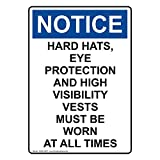 Osha Notice Hard Hats Eye Protection And White Metal Sign Aluminum Signs 6X9 Inch
