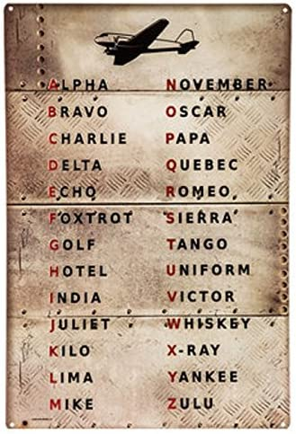 Amazon Com Pilot Code Aviation Metal Sign Phonetic Alphabet Alpha Bravo Charlie Home Kitchen