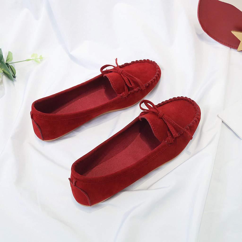 ZEELIY Chaussures Femme Flats Mocassins Femmes Su/ède Casuel Confort Chaussures Classique Daim Noeud Papillon Penny Loafers Confortable Fait Main Pantoufle Mocassins