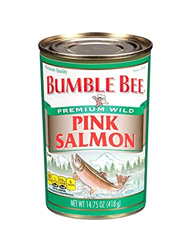 BUMBLE BEE Wild Pink Salmon, 14.75 Ounce Tins (Pack of 12), Canned Wild Salmon, Bulk Salmon, High Protein Food and Groceries, Keto Food, Gluten Free, High Protein Snack, Canned Food