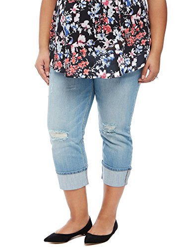 Motherhood Plus Size Highline Cuffed Maternity Crop Jeans (Crop Pants Cuffed Maternity)